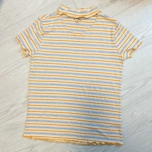 Lettuce Edge Striped Stretchy Cropped Tee